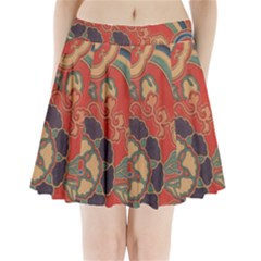 Vintage Chinese Brocade Pleated Mini Skirt