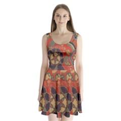 Vintage Chinese Brocade Split Back Mini Dress