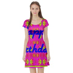 Happy Birthday! Short Sleeve Skater Dress