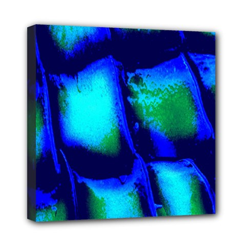 Blue Scales Pattern Background Mini Canvas 8  x 8