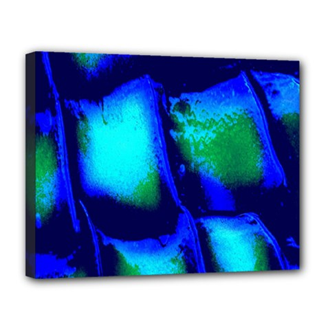 Blue Scales Pattern Background Canvas 14  X 11