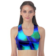 Blue Scales Pattern Background Sports Bra