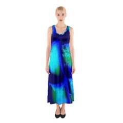 Blue Scales Pattern Background Sleeveless Maxi Dress