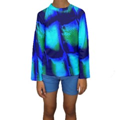 Blue Scales Pattern Background Kids  Long Sleeve Swimwear