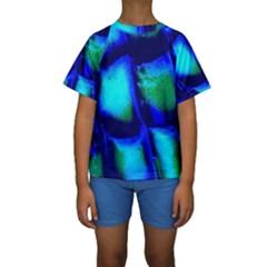 Blue Scales Pattern Background Kids  Short Sleeve Swimwear