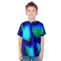 Blue Scales Pattern Background Kids  Cotton Tee