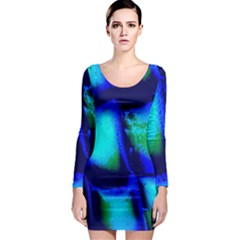 Blue Scales Pattern Background Long Sleeve Bodycon Dress