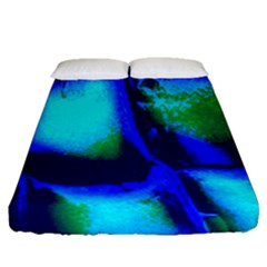 Blue Scales Pattern Background Fitted Sheet (queen Size)