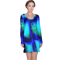 Blue Scales Pattern Background Long Sleeve Nightdress