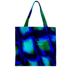 Blue Scales Pattern Background Zipper Grocery Tote Bag