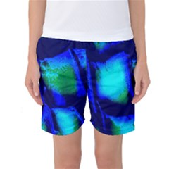 Blue Scales Pattern Background Women s Basketball Shorts