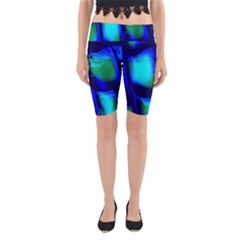 Blue Scales Pattern Background Yoga Cropped Leggings