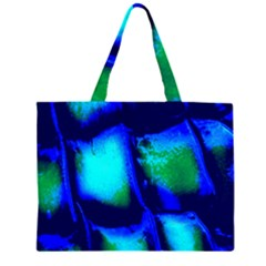 Blue Scales Pattern Background Zipper Large Tote Bag