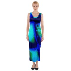 Blue Scales Pattern Background Fitted Maxi Dress