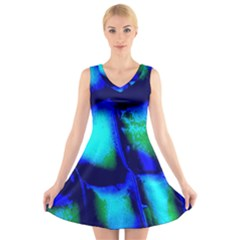 Blue Scales Pattern Background V Neck Sleeveless Skater Dress