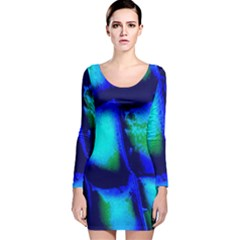 Blue Scales Pattern Background Long Sleeve Velvet Bodycon Dress