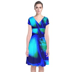 Blue Scales Pattern Background Short Sleeve Front Wrap Dress