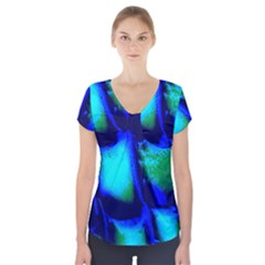 Blue Scales Pattern Background Short Sleeve Front Detail Top