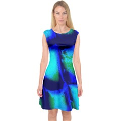 Blue Scales Pattern Background Capsleeve Midi Dress