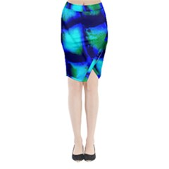 Blue Scales Pattern Background Midi Wrap Pencil Skirt