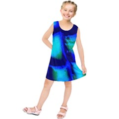Blue Scales Pattern Background Kids  Tunic Dress