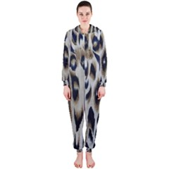 Tiger Background Fabric Animal Motifs Hooded Jumpsuit (ladies)