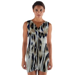 Tiger Background Fabric Animal Motifs Wrap Front Bodycon Dress