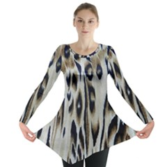 Tiger Background Fabric Animal Motifs Long Sleeve Tunic