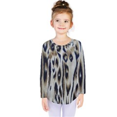 Tiger Background Fabric Animal Motifs Kids  Long Sleeve Tee