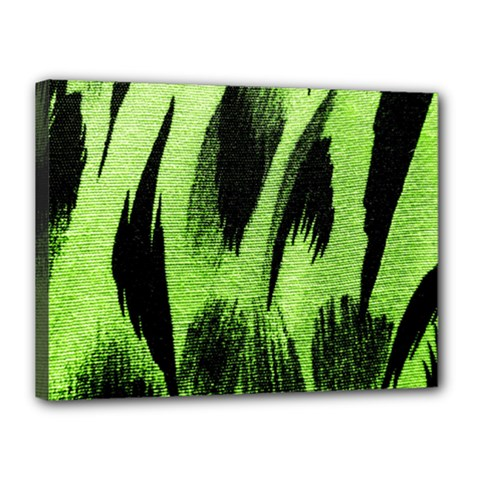 Green Tiger Background Fabric Animal Motifs Canvas 16  x 12