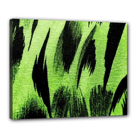 Green Tiger Background Fabric Animal Motifs Canvas 20  x 16