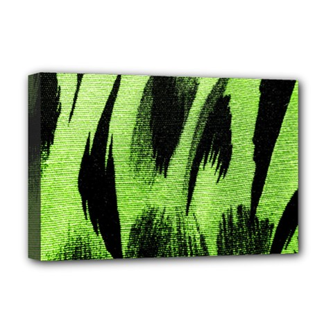 Green Tiger Background Fabric Animal Motifs Deluxe Canvas 18  X 12