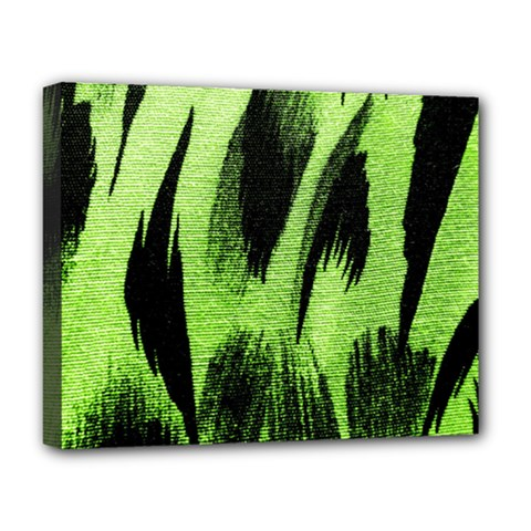 Green Tiger Background Fabric Animal Motifs Deluxe Canvas 20  X 16