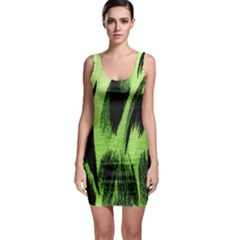 Green Tiger Background Fabric Animal Motifs Sleeveless Bodycon Dress
