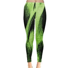 Green Tiger Background Fabric Animal Motifs Leggings