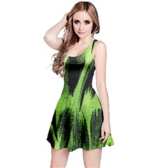 Green Tiger Background Fabric Animal Motifs Reversible Sleeveless Dress