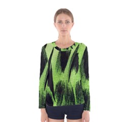Green Tiger Background Fabric Animal Motifs Women s Long Sleeve Tee