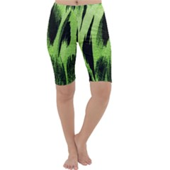 Green Tiger Background Fabric Animal Motifs Cropped Leggings