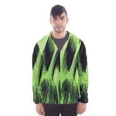 Green Tiger Background Fabric Animal Motifs Hooded Wind Breaker (Men)
