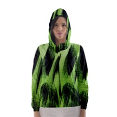 Green Tiger Background Fabric Animal Motifs Hooded Wind Breaker (women)