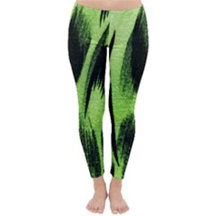 Green Tiger Background Fabric Animal Motifs Classic Winter Leggings