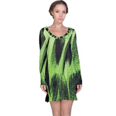 Green Tiger Background Fabric Animal Motifs Long Sleeve Nightdress