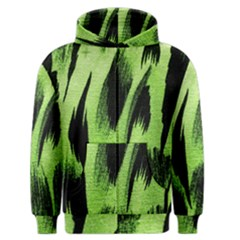 Green Tiger Background Fabric Animal Motifs Men s Zipper Hoodie