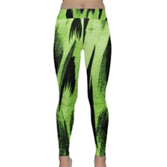 Green Tiger Background Fabric Animal Motifs Classic Yoga Leggings