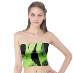 Green Tiger Background Fabric Animal Motifs Tube Top