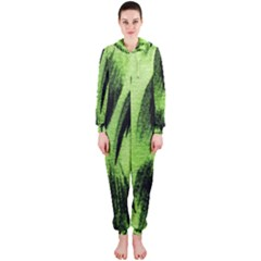 Green Tiger Background Fabric Animal Motifs Hooded Jumpsuit (ladies)
