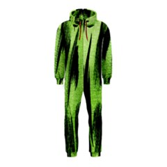 Green Tiger Background Fabric Animal Motifs Hooded Jumpsuit (kids)