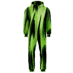 Green Tiger Background Fabric Animal Motifs Hooded Jumpsuit (men)