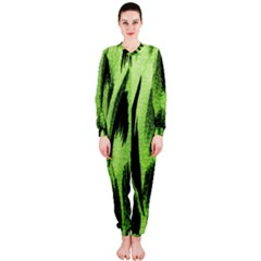 Green Tiger Background Fabric Animal Motifs Onepiece Jumpsuit (ladies)