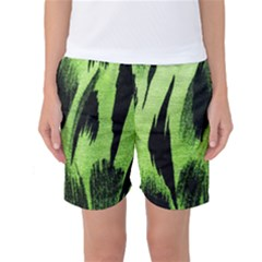 Green Tiger Background Fabric Animal Motifs Women s Basketball Shorts